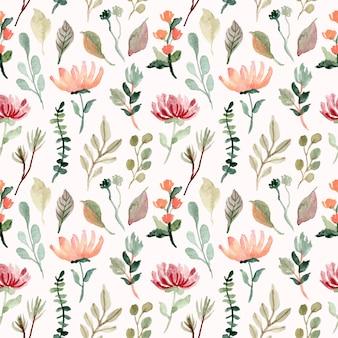 花と葉の水彩画のシームレスパターン
