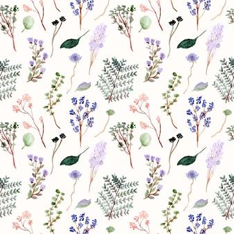 花と枝の水彩画のシームレスパターン
