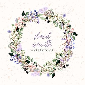 美しい花と枝の水彩花輪