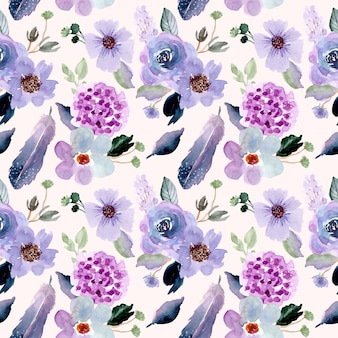 きれいな花と羽の水彩画のシームレスパターン