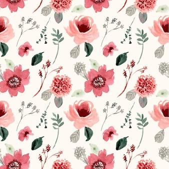 ビンテージ花水彩シームレスパターン