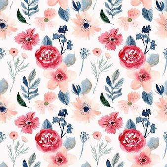 美しい水彩花のシームレスパターン