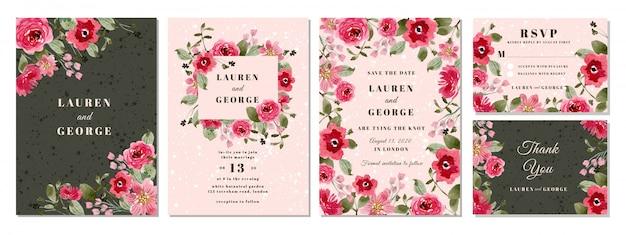 ピンクの花の水彩画の背景を持つ結婚式招待状スイート