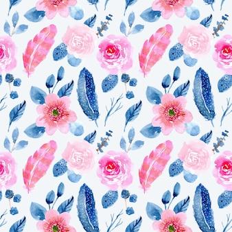 ブルーピンクの花と羽の水彩画のシームレスパターン