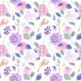 紫ピンクパステル花水彩シームレスパターン