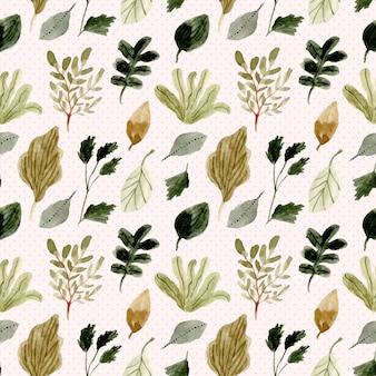 葉の水彩とドットのシームレスパターン