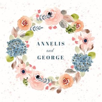 赤面の青い花の水彩画の花輪との結婚式のバッジ
