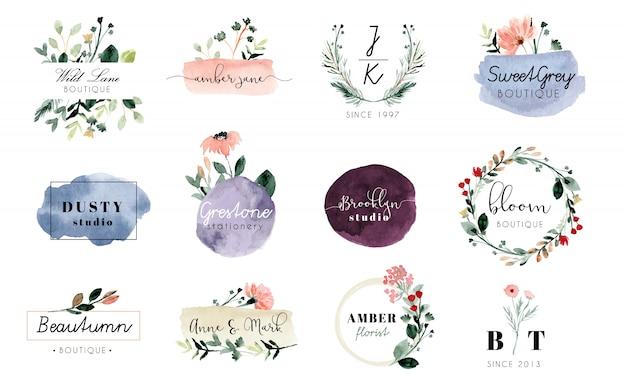 既製のロゴの花とブラシストロークの水彩画コレクション
