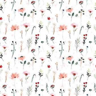 ミニ野生花水彩シームレスパターン