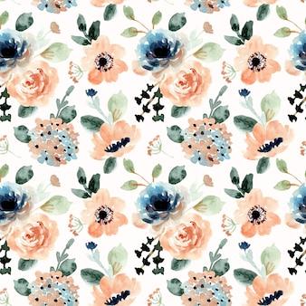 オレンジブルー花水彩シームレスパターン