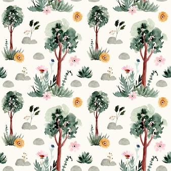 木と花の水彩画のシームレスパターン