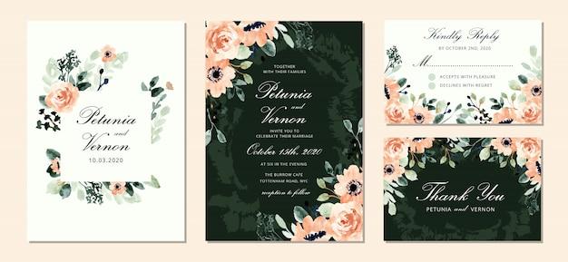 美しい赤面緑花水彩画入り結婚式招待状