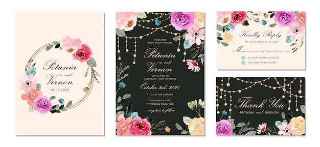 文字列の光ときれいな花の水彩画テンプレートで設定した結婚式の招待状、