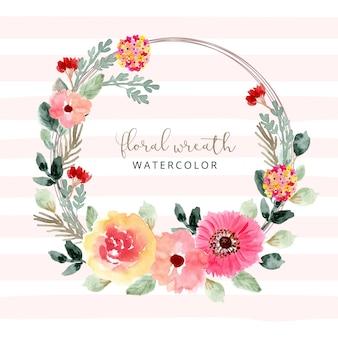 美しい水彩花の花輪