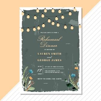 ヴィンテージの花と文字列の光でリハーサルディナーの招待状