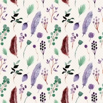 羽と葉の水彩画のシームレスパターン