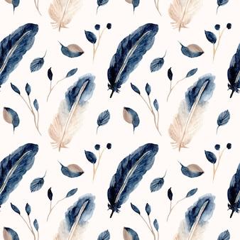 青い羽と葉の水彩画のシームレスパターン