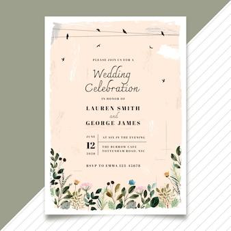 Винтажное свадебное приглашение с птицей и цветочной акварелью