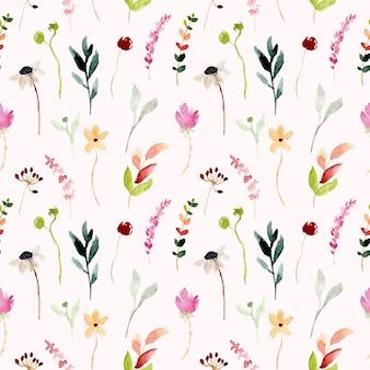 カラフルな野生の花の水彩画のシームレスパターン