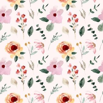 甘い野生花水彩シームレスパターン
