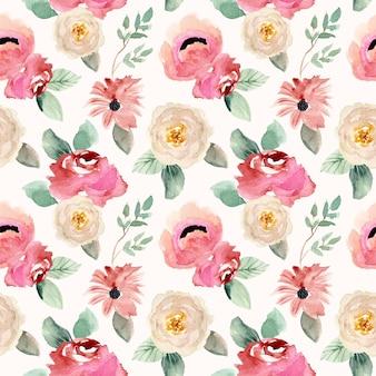 Белый розовый цветочный акварельный бесшовный фон