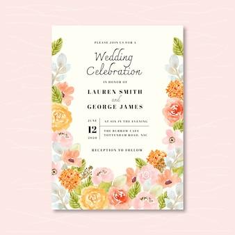 柔らかい花の水彩画の結婚式の招待状