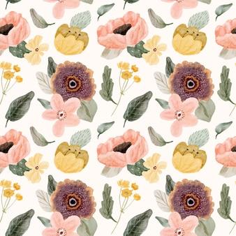 かわいい水彩花柄シームレス