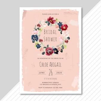 水彩花の花輪とブライダルシャワーの招待状