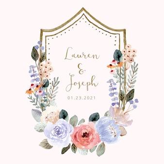 柔らかい花の水彩画フレームと結婚式のバッジ