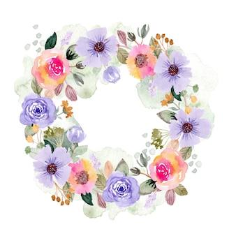 Красочные цветочные и всплеск акварель венок