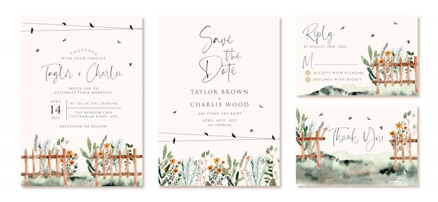 庭のフェンスの水彩画で設定された結婚式の招待状