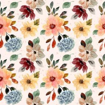 秋秋花の水彩画のシームレスパターン