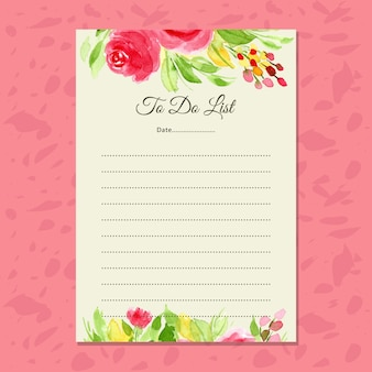 花の水彩でリスト紙をする