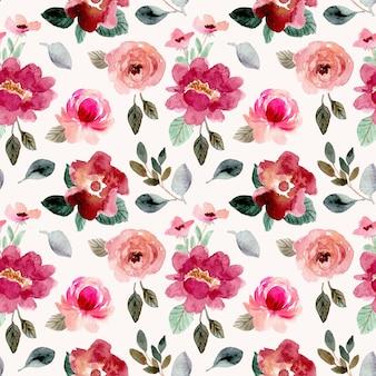 赤ピンクグリーンヴィンテージ花柄水彩シームレスパターン