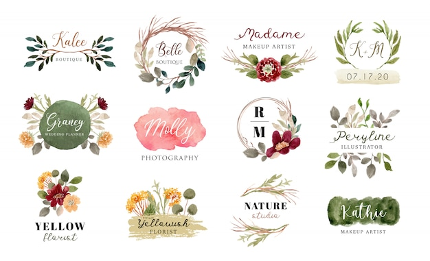 花とブラシストロークの水彩画のコレクションと既成のロゴ