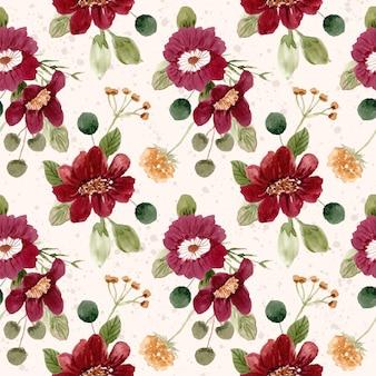 美しい赤い緑の花の水彩画のシームレスパターン