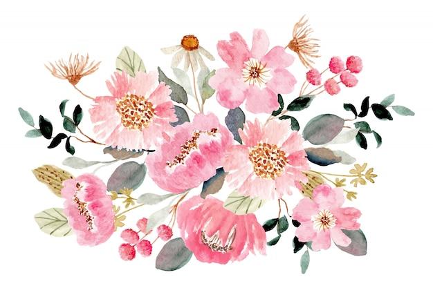 ピンクグリーンフローラルブーケ水彩画