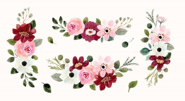 ピンクレッドフラワーアレンジメントブーケ水彩画コレクション