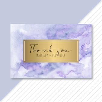 紫青の抽象的な水彩画とゴールデンカードをありがとう