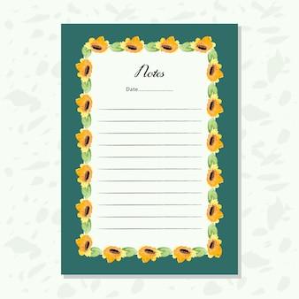 黄色い水彩の花のフレームと紙をメモ