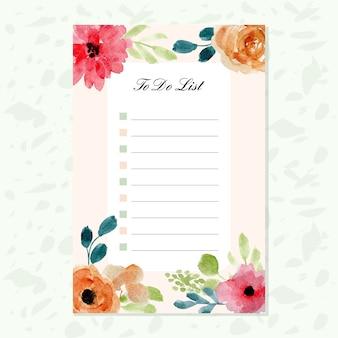花の水彩の背景を持つリスト用紙をする