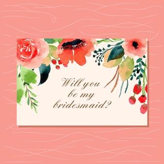花の水彩画の花嫁介添人カード