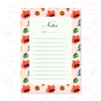 水彩の花のパターンを持つノート紙