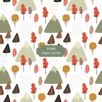 Осеннее дерево и горы бесшовные модели