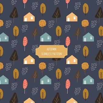 暗い背景と秋の村のシームレスなパターン