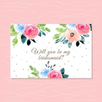 美しい花の水彩画と花嫁介添人のカード