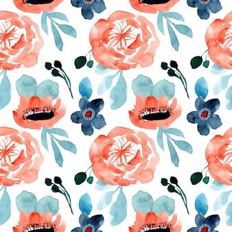オレンジブルーの花の水彩シームレスパターン