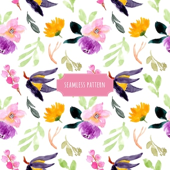 美しい花の水彩シームレスパターン