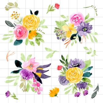 グリッドの背景と花の水彩の配列