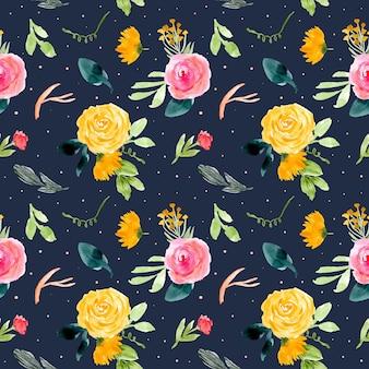 暗い背景と花の水彩のシームレスなパターン